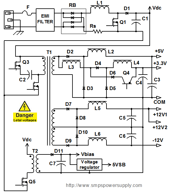 computer power supply diagram and operation rh smpspowersupply com wiring diagram dell power supply wiring diagram xbox 360 power supply